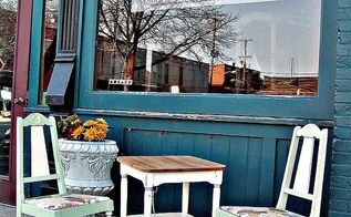 using vintage fabric on chairs, chalk paint, painted furniture, repurposing upcycling, The completed table and chairs in front of one of my consignment outlets