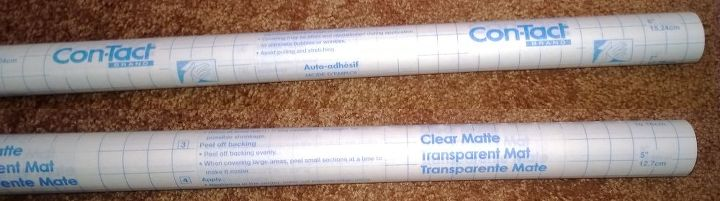 Shelf paper/Contact paper in clear. (it's not really clear, see 1st pic) You can draw your pattern on the back then trace from the front.