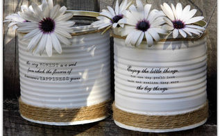 up cycled painted tin cans, crafts, repurposing upcycling