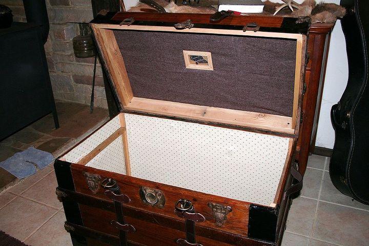 antique trunk refurbished, painted furniture, interior of trunk I restored - Antique Trunk Refurbished Hometalk