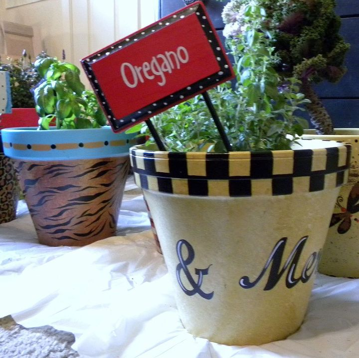 Painted Clay Pots & Herb Sign by GranArt
