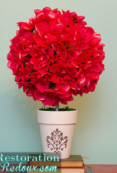 easy spring topiary tutorial, crafts, Finished product