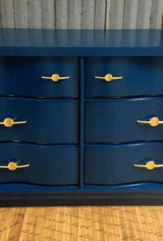 bold blue dresser makeover, painted furniture, rustic furniture, After