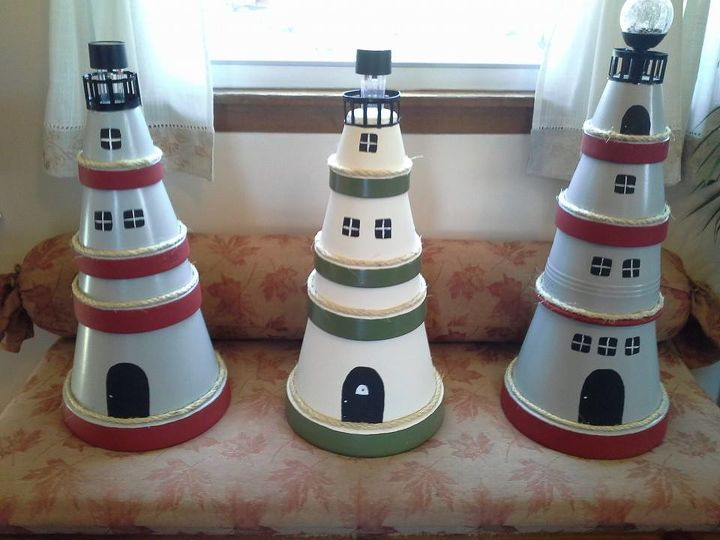 clay pot lighthouse, crafts, repurposing upcycling