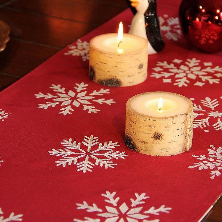 holiday diy stenciled table runner, painting, seasonal holiday decor