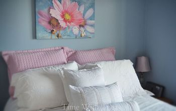 Pretty Blue Bedroom With White And Pink Bedscaping
