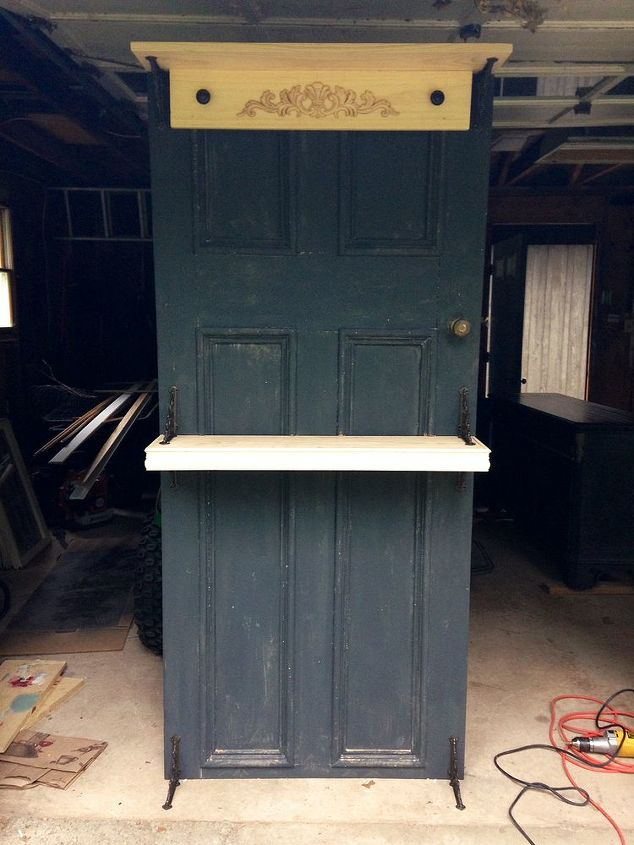 vintage door turned into a beautiful display, chalk paint, diy, home decor, painted furniture, repurposing upcycling