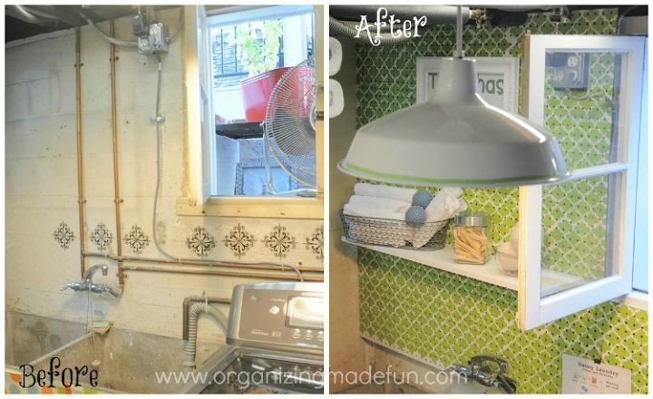 my laundry room wall, home decor, laundry rooms, Ugly pipes drove me crazy so I hid them with pegboard