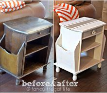 magazine rack side table makeover, painted furniture, Before and after of my side table