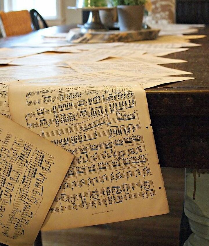 vintage music sheet table runner, home decor, painted furniture, repurposing upcycling