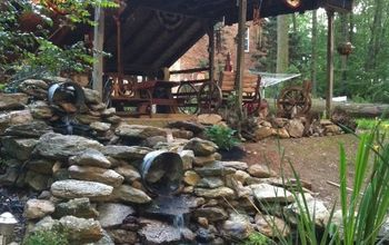 Double waterfall fish pond and deck