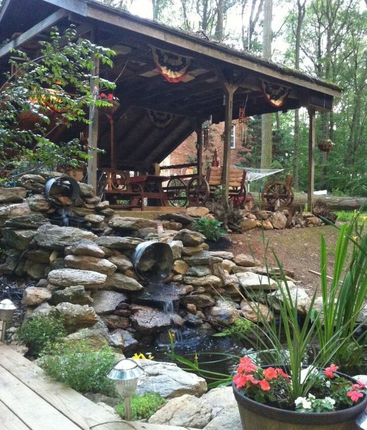 double waterfall fish pond and deck, outdoor living, ponds water features