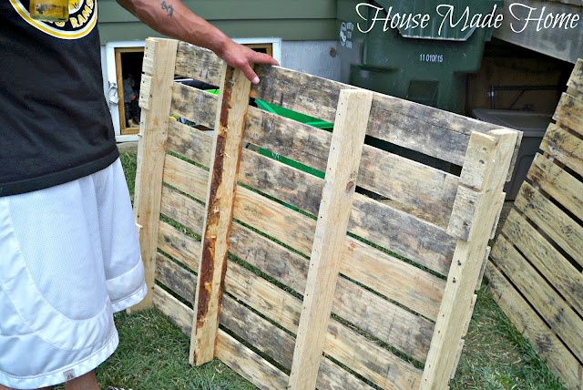 diy pallet farmhouse table, painted furniture, pallet, rustic furniture, urban living, He started by taking the pallets apart and saving the existing nails to re use later