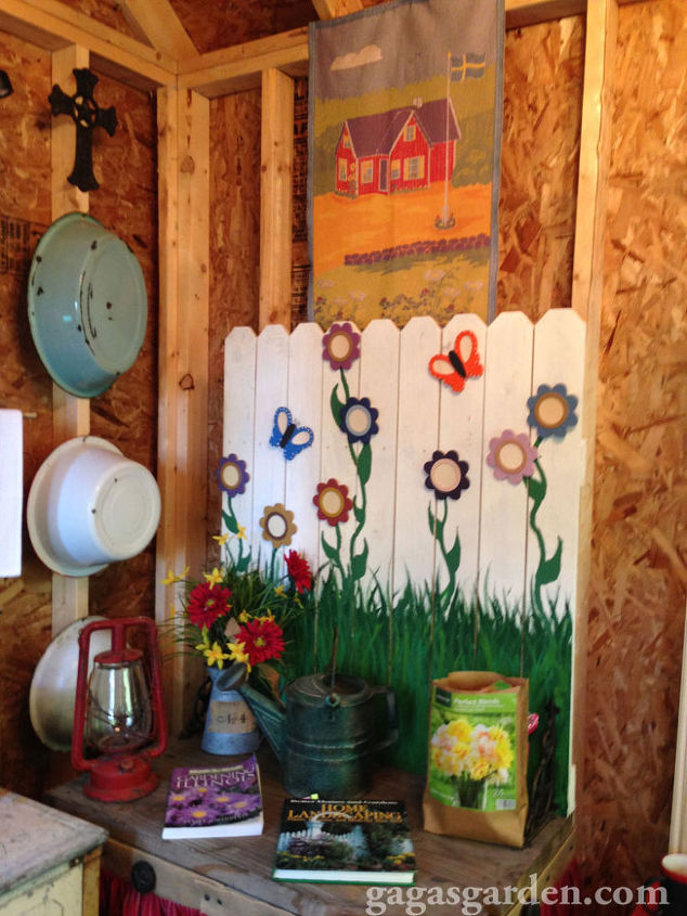 a teacher s dream garden shed, curb appeal, gardening, outdoor living, An antique school house tapestry wall hanging graces the wall