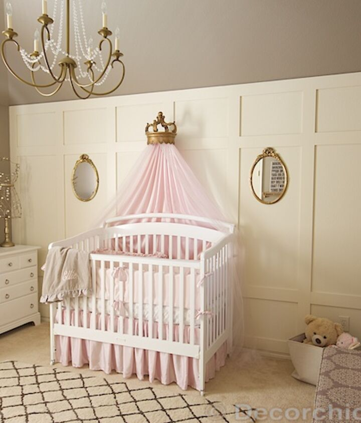 Vintage nursery with pink, grey and gold touches throughout.
