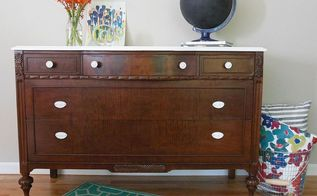 a dark wood dresser with a white top, painted furniture, woodworking projects, After new stain and a little paint