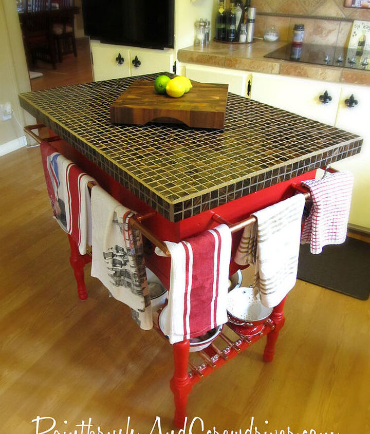 kitchen island made from re purposed wash stand, home decor, kitchen design, kitchen island, repurposing upcycling