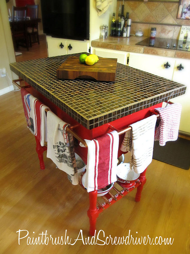 Kitchen island made from washstand.