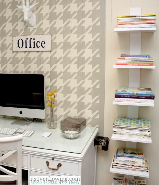perk up your home office with the houndstooth stencil, craft rooms, home office, storage ideas, wall decor