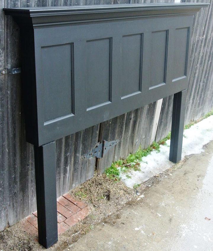 door headboard with matching night stands black and ebony, painted furniture, repurposing upcycling
