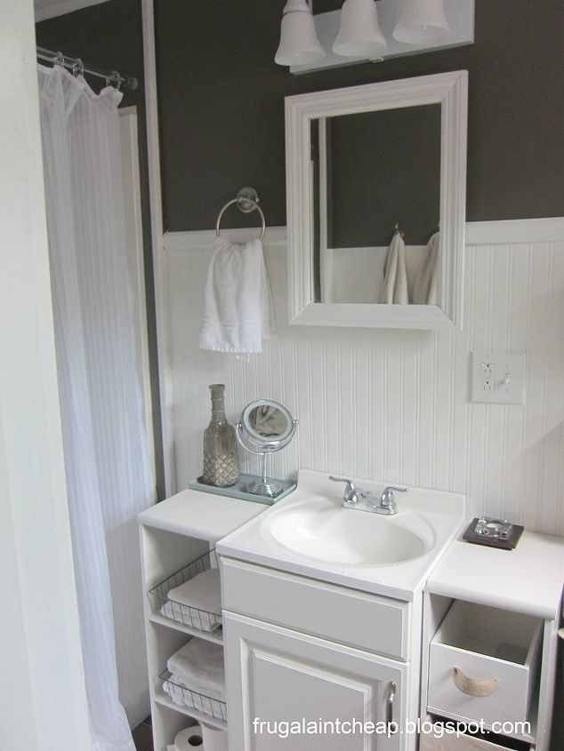 bathroom vanity extra side storage, bathroom ideas, home decor, kitchen cabinets, shelving ideas