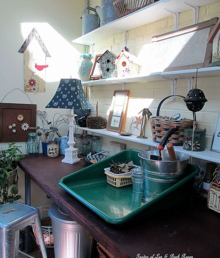 Room to do projects on top of the potting bench and storage below.