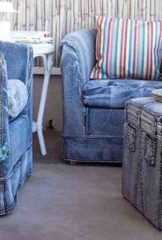 more makeovers with jean fabrics on furniture, painted furniture, Jean makeover with furniture Perfect for a summer home