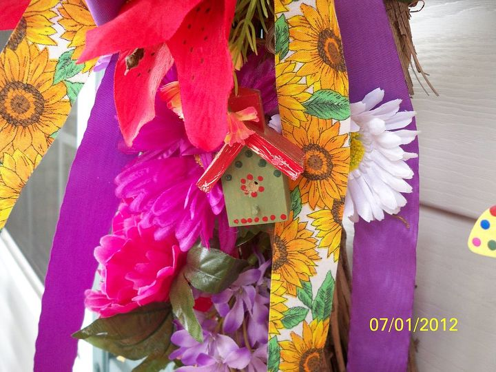 summer grape vine wreath one of my summer decorations on my front porch, crafts, seasonal holiday decor, wreaths