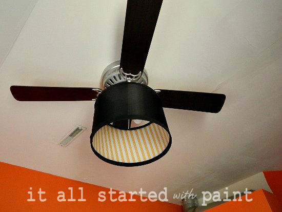 Ceiling fan makeover with drum shade decorated with washi tape.