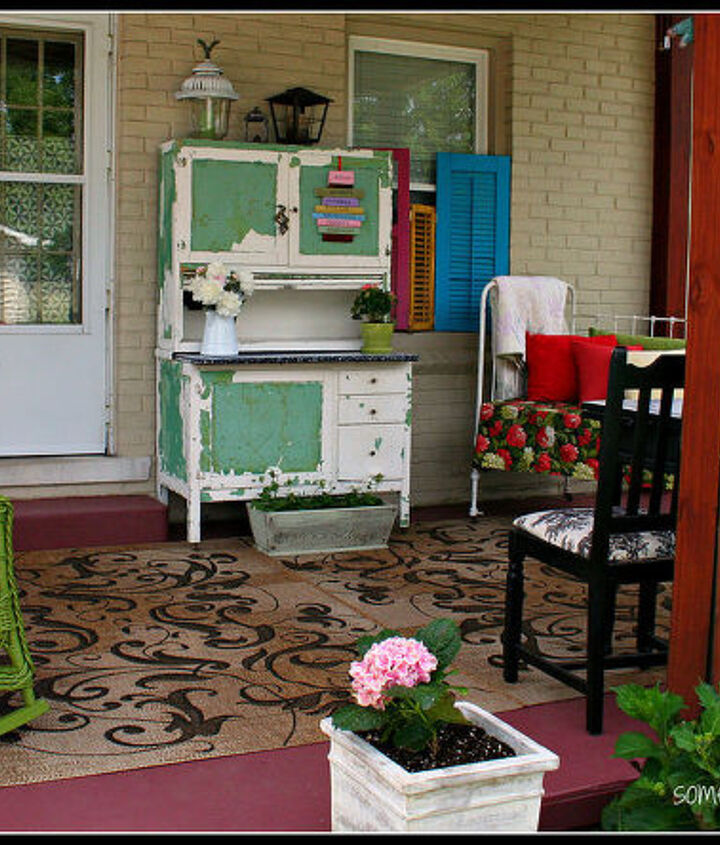my favorite outdoor seating area it started with repainting the porch then i, outdoor living, porches, Hoosier cabinet chippy and fun