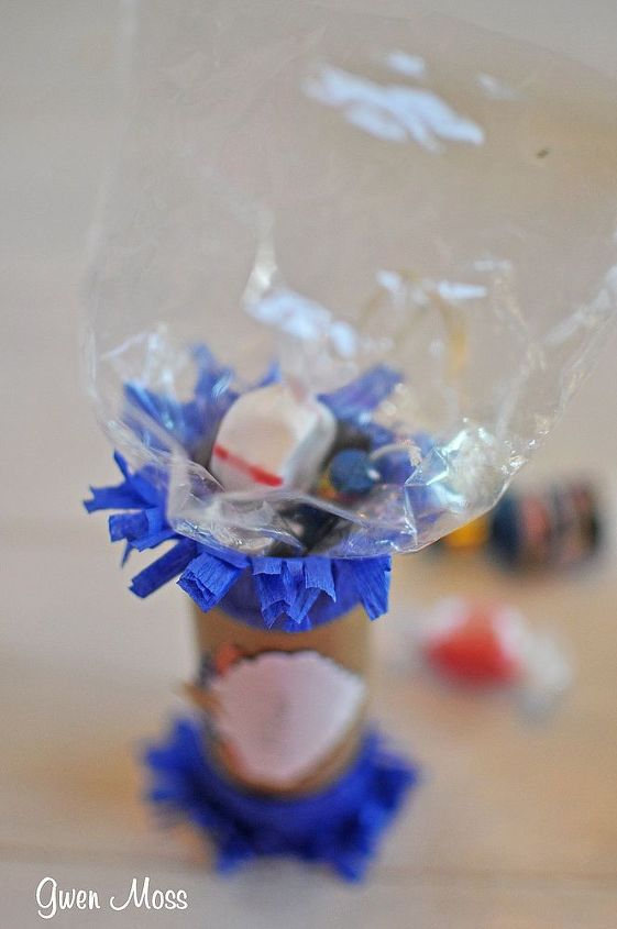 Here's a photo of the firecracker being filled with pieces of taffy and poppers