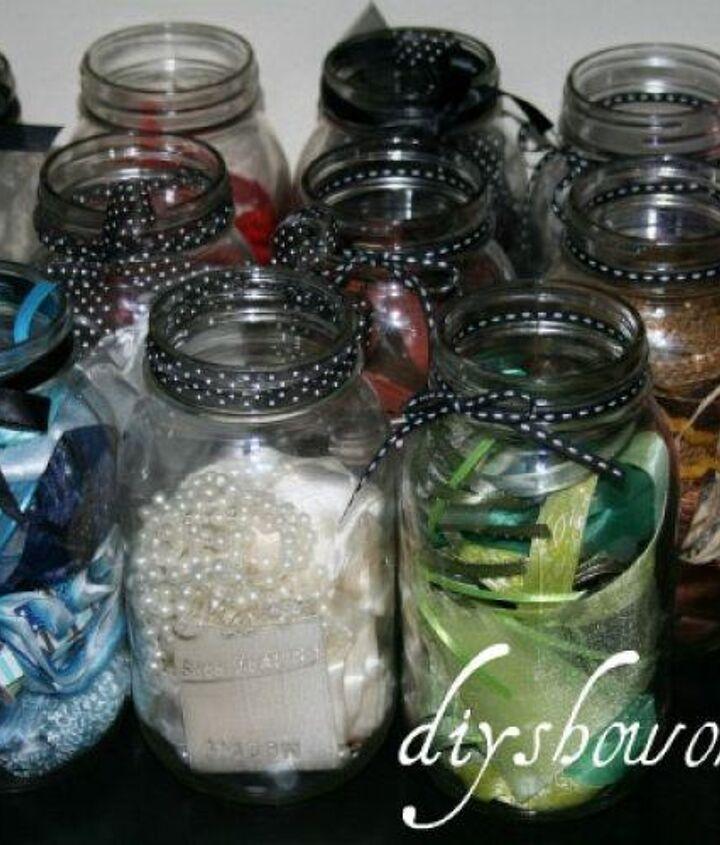 mason jars store ribbon scraps