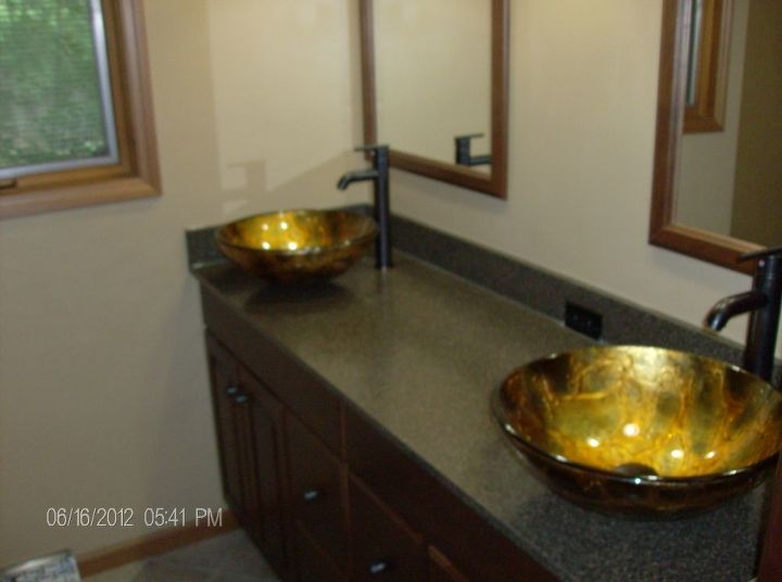 New top,sinks,faucets,mirrors,base,and casing.