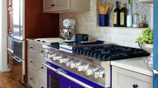 q we have all solid wood kitchen cabinets maybe mahogony not sure need to replace, kitchen cabinets, As you can see we ve mixed and matched painted and stained in this kitchen and a separate paint color in the butler s pantry And then there s the cobalt blue Viking