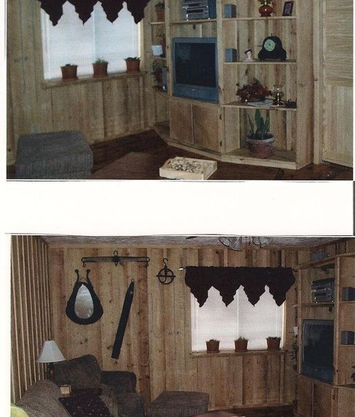 After-So country.My dad put a mirror inside the hole of the mule harness about 40 years ago, also the water bucket and pulley came from mygrandparnets farm . Bob made the entertainment center and an exwide window seal for my plants