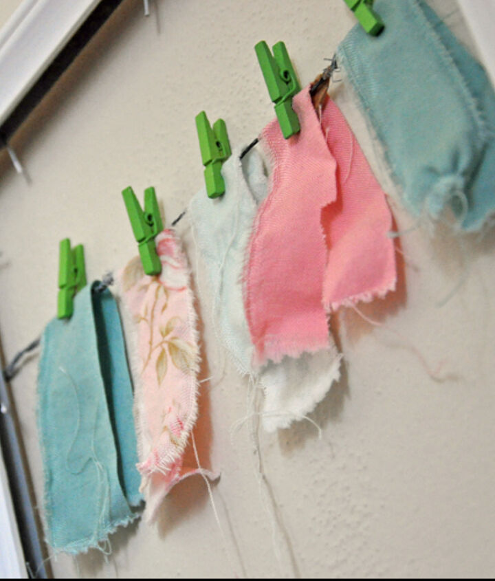 Mini Fabric Bunting using scraps from my fabric stash and mini clothespins