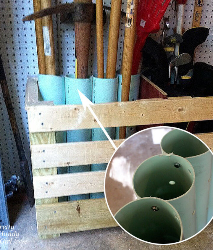 Plumbing pipes attached together for standing yard tool storage.