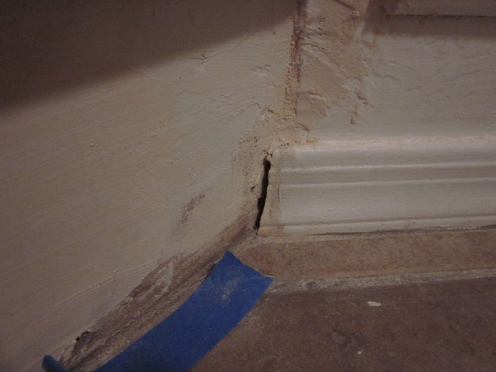 Continue to repair holes in the walls that the builders hid with the carpet.
