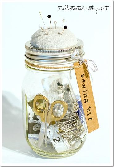 mason jar sewing kit, crafts, mason jars, Anthropologie knock off mason jar sewing kit using materials found at home