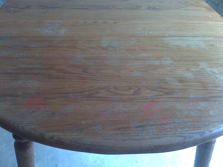 kitchen table refinishing, painted furniture, woodworking projects, Before