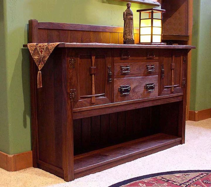 an envisioned walnut sideboard, kitchen cabinets, painted furniture, woodworking projects, A walnut sideboard for the library