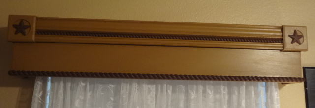 Overall view of one of the cornice boards in the home office.