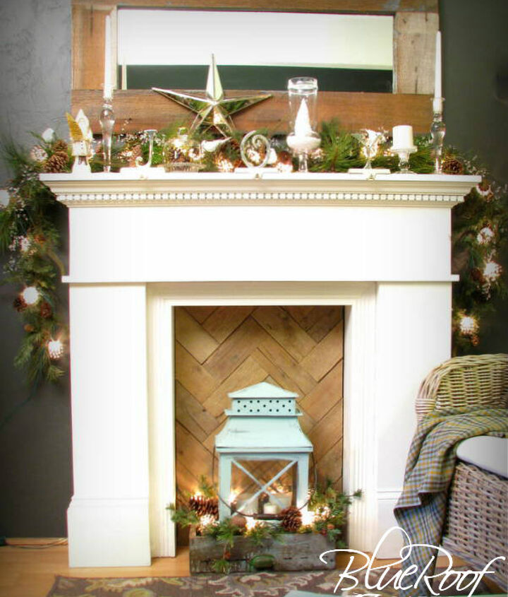 faux fireplace pallet wood fire box, fireplaces mantels, home decor