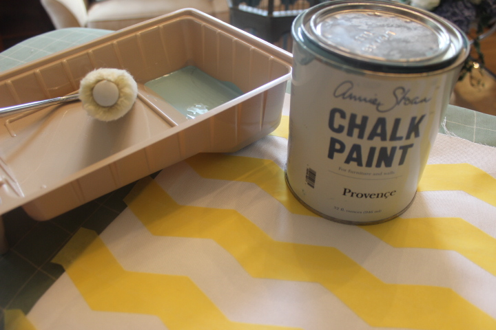 I used Annie Sloan Chalk Paint, but you can use a regular craft paint and even a latex house paint if you want to match a room's decor.