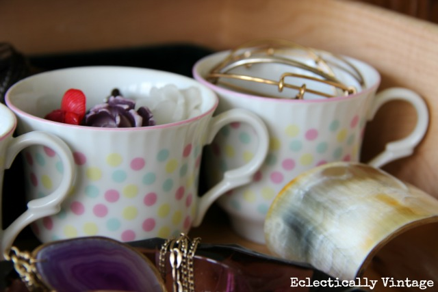 Tea time in my jewelry drawer. See more at http://eclecticallyvintage.com/2013/01/mission-organization-jewelry-drawer/