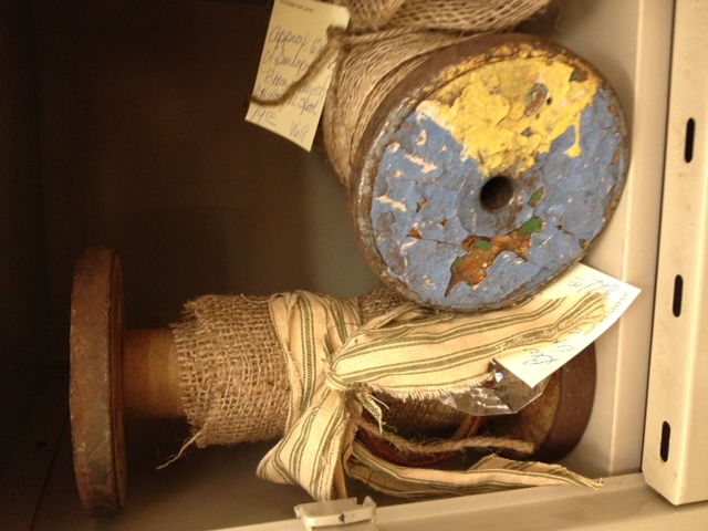 q ideas on different things i can do with these yummy old spools, crafts, repurposing upcycling, I have some in my storefront with burlap and homespun fabric for decoration I also hang a crystal tear drop for a touch of bling