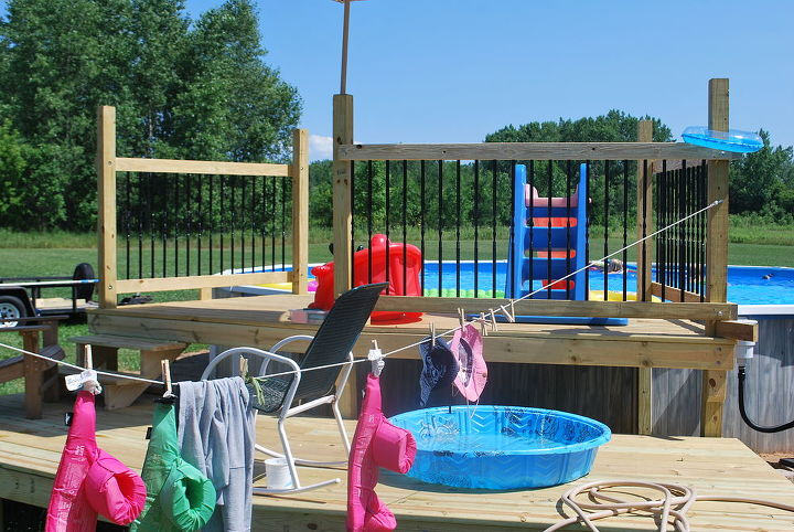 our pool deck, decks, fences, outdoor living, pool designs, one more railing section and gate to go then all that s left to do is swim