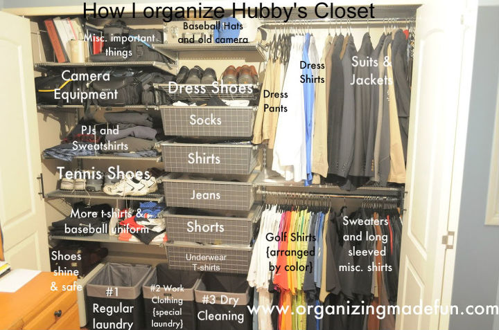 Zones in his closet help keep him organized