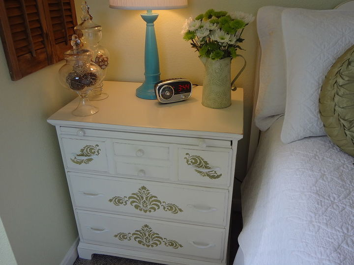 Chest of drawers was in my husband's room when he was a little boy.  Painted and stenciled it.