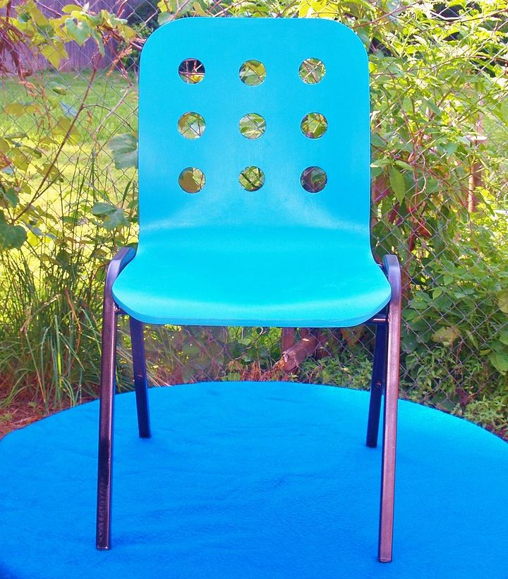 After - We painted the legs black and the red chair turquoise then attached them to each other into one great chair!